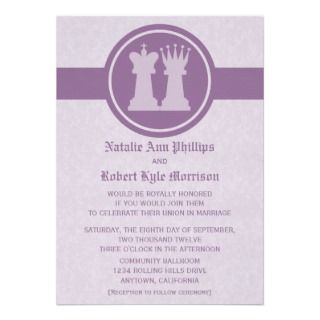 Chess King and Queen Wedding Invitation, Purple
