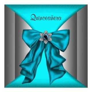 Teal Blue Quinceanera Teal Blue Brthday Party Personalized Invites