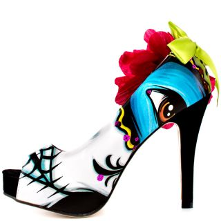 Iron Fists Multi Color Ladykiller Peep Toe Plat  White Multi for 59