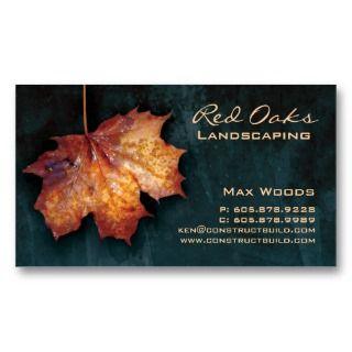 Landscaping Business Card Blue Maple Leaf