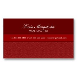 Elegant Damask Red Business Cards