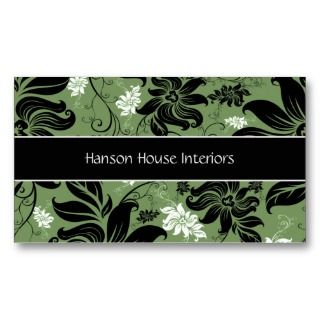 Elegant Black Green White Floral Business Card