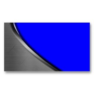 Royal Blue Silver Metal Curve Business Cards
