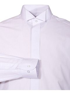 Double TWO Wing collar plain fly front dress shirt White   House of