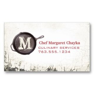 iron skillet frying pan cooking chef biz card business card templates