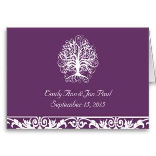 Plum & White Swirl Tree Wedding Invitation  by samack