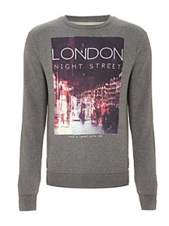 Jack & Jones Long sleeved London graphic sweater Grey Marl