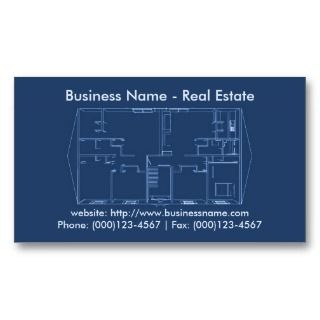 Real Estate Business Card: Floor Plan Blueprint