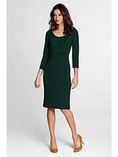 Lands End Women`s pleat neck ponte jersey dress Brown