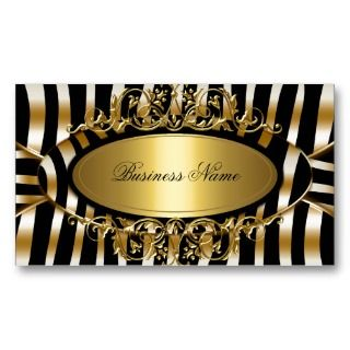 Classy Zebra Sepia Gold Metal Look Business Cards