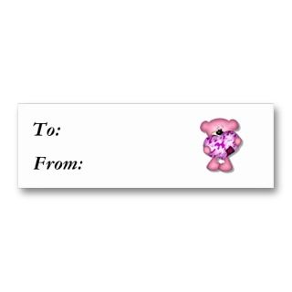 pink camo heart bear business card template