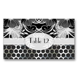 & Grey Feminine Floral Manly Metal Wedding Business Card Templates