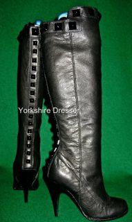New Karen Millen £250 Long Black Studded Boots Asstd