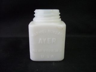 Vintage Harriet Hubbard Ayer NY White Milk Glass Jar