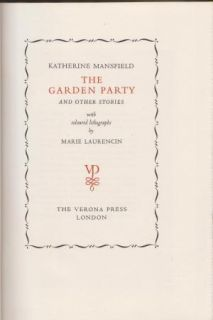 THE GARDEN PARTY by K Mansfield + Lithos by Marie Laurencin, Limited