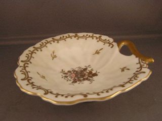 Vintage Leaf Shaped Dish with Ornate Gold Rose Floral