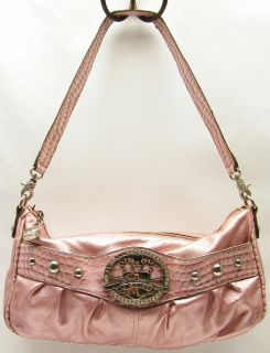 Kahy Van Zeeland Meallic Pink Purse Hobo Barrel Bag Handbag