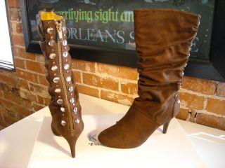 Kathy Van Zeeland Ono Brown Jeweled Boots
