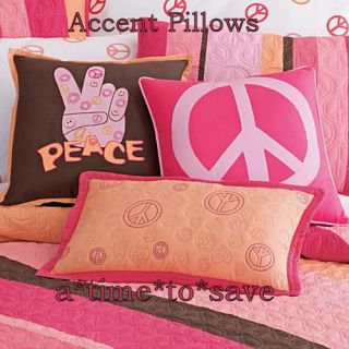 New Girl Peace Sign Twin Quilt Coral Pink Brown Orange Set 7pc Hippie