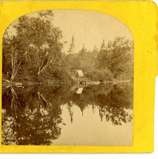 Mould Keeseville NY Stereoview Adirondack Mountains Camp on Raquette