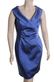 Kay Unger New Purple Portrait Neck Pleated Front Sleeveless Cocktail