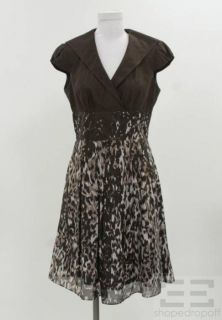 Kay Unger Brown Black Printed Cap Sleeve Dress Size 6