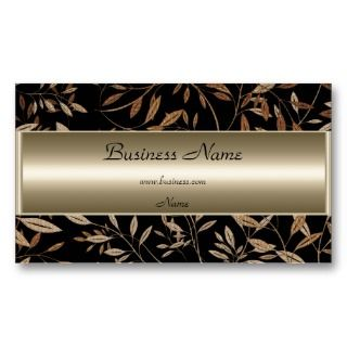 Bronze Black Brown Floral Elegant Business Card