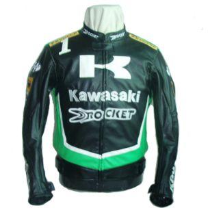 Kawasaki MOTORCYCLE JACKET, BIKERS RACING JACKET PU LEATHER Black and