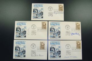 Basketball HOFers Signed Naismith First Day Covers