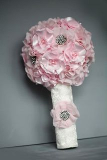 Kellie Elegant Fabric Flower Rhinestone Brooch Bridal Bouquet Custom