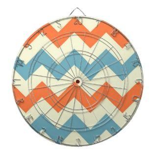 Orange blue chevron zigzag stripes zig zag pattern dart boards