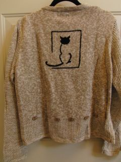 Christopher and Banks Cat Sweater Beige Color Two Sided Size Large