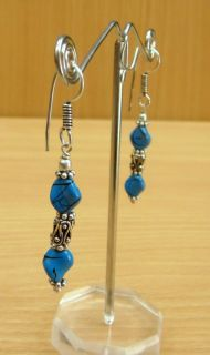 Indian Womans Girls Fashionable Designing Sky Blue Metal Earrings