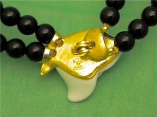 Kenneth Jay Lane KJL for Avon 2 Strand Black Bead Necklace with White