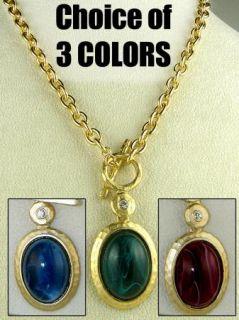 Kenneth Jay Lane Vintage Inspired 22K Gold Pendant Necklace Emerald