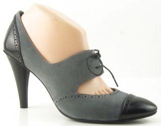 Via Spiga Kelis Graphite Suede Black Womens Designer Shoes Lace Up