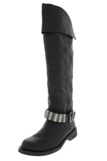 Kenneth Cole Moto Racing Black Knee High Fold Over Riding Boots R6 L6