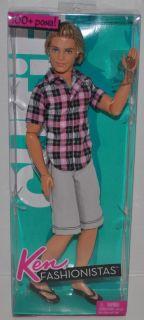 New Barbie Fashionistas Ken Cutie Doll 100 Poses Pink Plaid Shirt