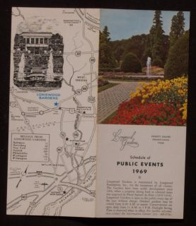 1968 Longwood Gardens Guide Maps Kennett Square Pa