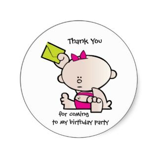 Thank You Birthday Party Gift Tag Sticker