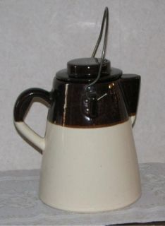 Vintage McCoy Pottery Coffee Kettle Brown and White
