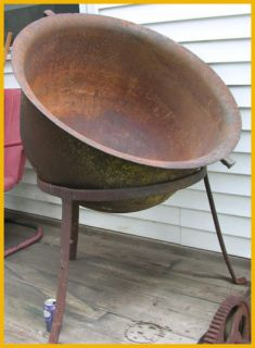 Large Antique Cast Iron Cauldron Kettle Tripod