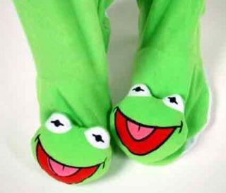 Sesame Street Kermit The Frog Union Suit Plush Footed Fleece Pajamas