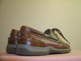 Pelican Bay Key Largo Brown Leather Boat Deck Shoes Size 10 w Mens U