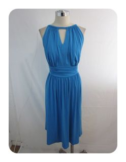 New New Directions Sky Blue Jersey Keyhole Empire A Line Dress 20W $94
