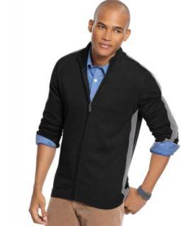 Kenneth Cole New Black Long Sleeve Funnel Neck Full Zip Sweater L BHFO