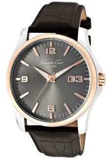 Kenneth Cole Watch KC1868 Mens Charcoal Dial Rose Gold Tone Accents
