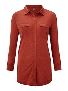 Lands End Women`s silk blend three quarter sleeve shirt Orange
