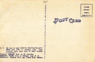 Atlantic City NJ Kents Restaurant Linen Postcard