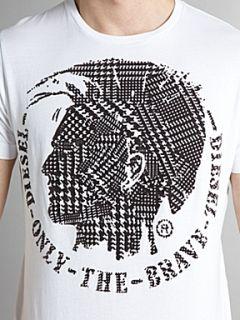 Diesel Crew neck mohican print flocked T shirt White